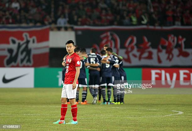 Gao Lin of Guangzhou Evergrande during the Asian Champions League match between Guangzhou Evergrande and Melbourne Victory at Tianhe Sports Center on...