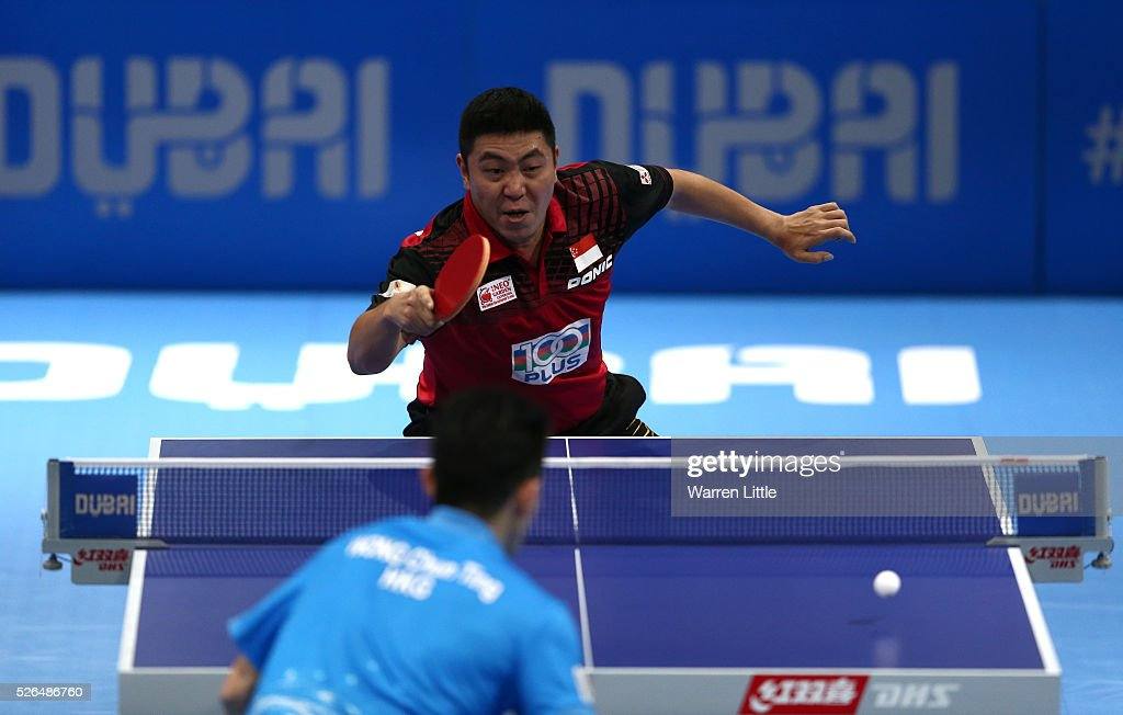 Gao Ning of Singapore in action against Wong Chun Ting of Hong Kong during the Men's singles bronze medal play-off for the Nakheel Table Tennis Asian Cup 2016 at Dubai World Trade Centre on April 30, 2016 in Dubai, United Arab Emirates.