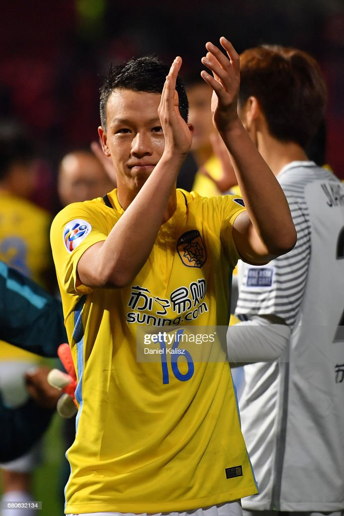 Gao Tianyi of Jiangsu FC waves to the crowd after the AFC Champions League match between Adelaide United and Jiangsu Sainty at Hindmarsh Stadium on May 9, 2017 in Adelaide, Australia.