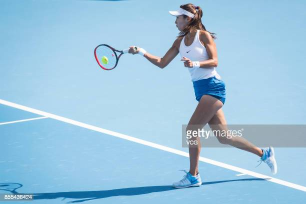 Gao Xinyu of China hits a forehand during Women's singles qualification match against Veronica Cepede Royg of Paraguay during the 2017 China Open at...