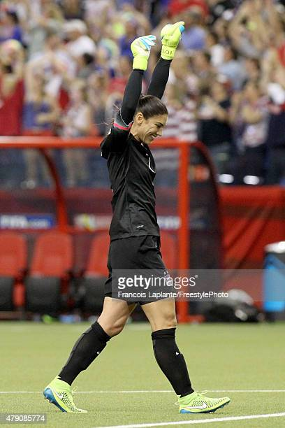 Gaolkeeper Hope Solo of the United States celebrates after the USA 20 victory against Germany in the FIFA Women's World Cup 2015 SemiFinal Match at...