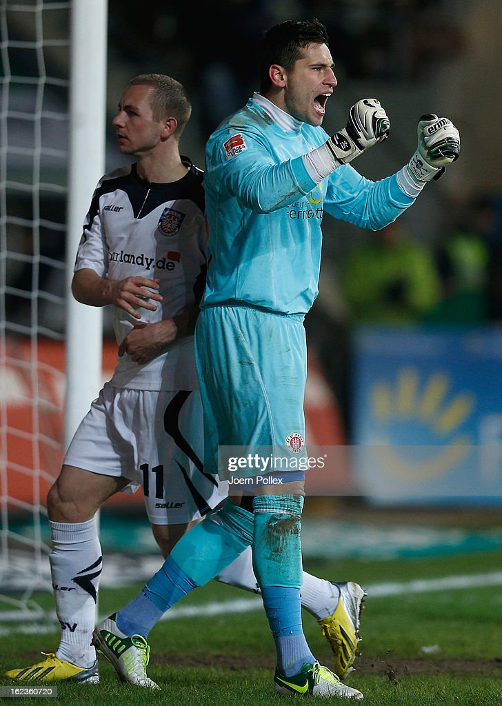 Gaolkeeper Philipp Tschauner of St. Pauli celebrates during the Second Bundesliga match between 1. FC St. Pauli and FSV Frankfurt 1899 at Millerntor Stadium on February 22, 2013 in Hamburg, Germany.