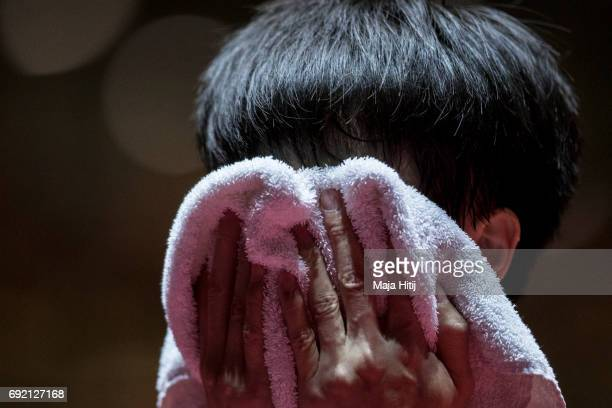 Gaoyuan Lin of China during break at Men's Singles eightfinal of Table Tennis World Championship at Messe Duesseldorf on June 4 2017 in Dusseldorf...