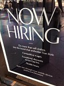 Santa Monica Ca October 26 2014 A gap affiliated clothing store hiring sign in front of store