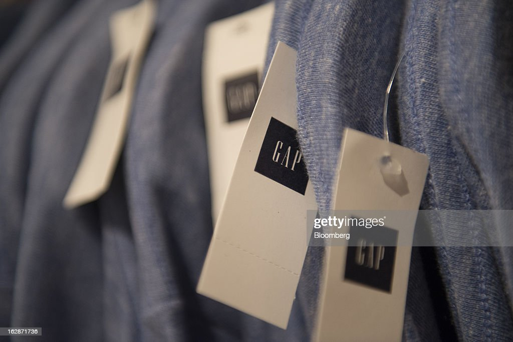 Gap Inc. labels are seen on pants displayed for sale at a Gap Inc. store in San Francisco, California, U.S., on Thursday, Feb. 28, 2013. Gap Inc., the biggest U.S. specialty-apparel retailer, rose after posting fourth-quarter profit that topped analysts' estimates, fueled by its best holiday shopping season in six years. Photographer: David Paul Morris/Bloomberg via Getty Images
