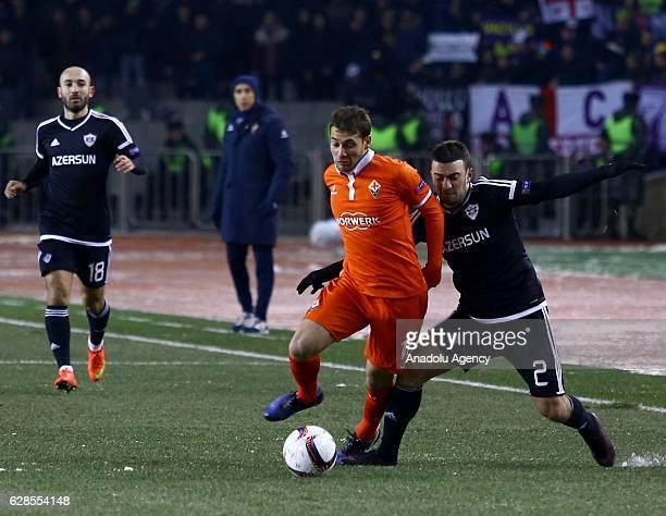 Gara Garayev of Qarabag FK in action against Sebastian Cristoforo of ACF Fiorentina during the UEFA Europa League football match between Qarabag and...