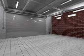Garage 3D Interior with Closed Roller Door. 3D Rendering