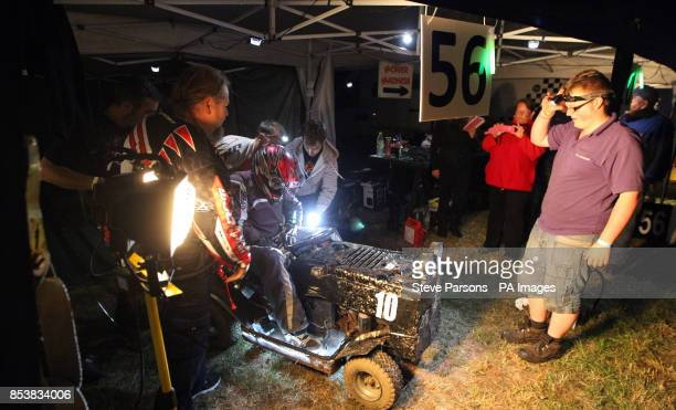 Garage 56 team work on their mower during the British Lawn Mower Racing Association 12 hour British Lawn mower endurance race near Billingshurst...