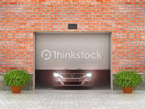 Garage Concept Garage Doors And Tire Around 3d Illustration Stock