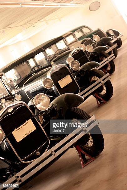 Garage Full of Antique Cars - In a Row