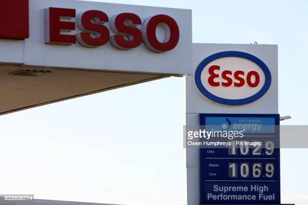 A garage in Yarm near Teeside displays diesel prices of 1069p a litre