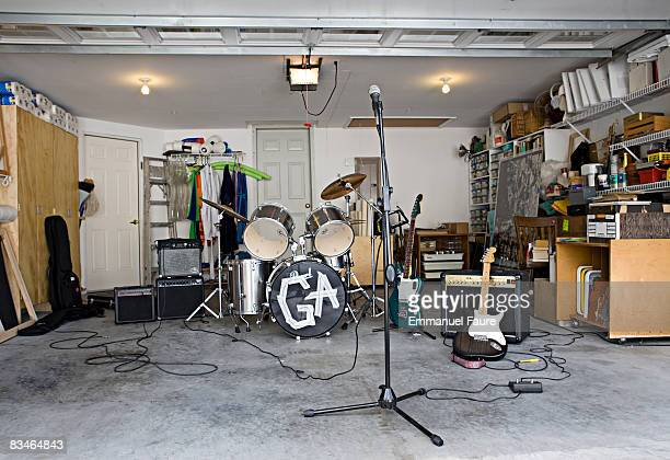 garage interior with music instruments