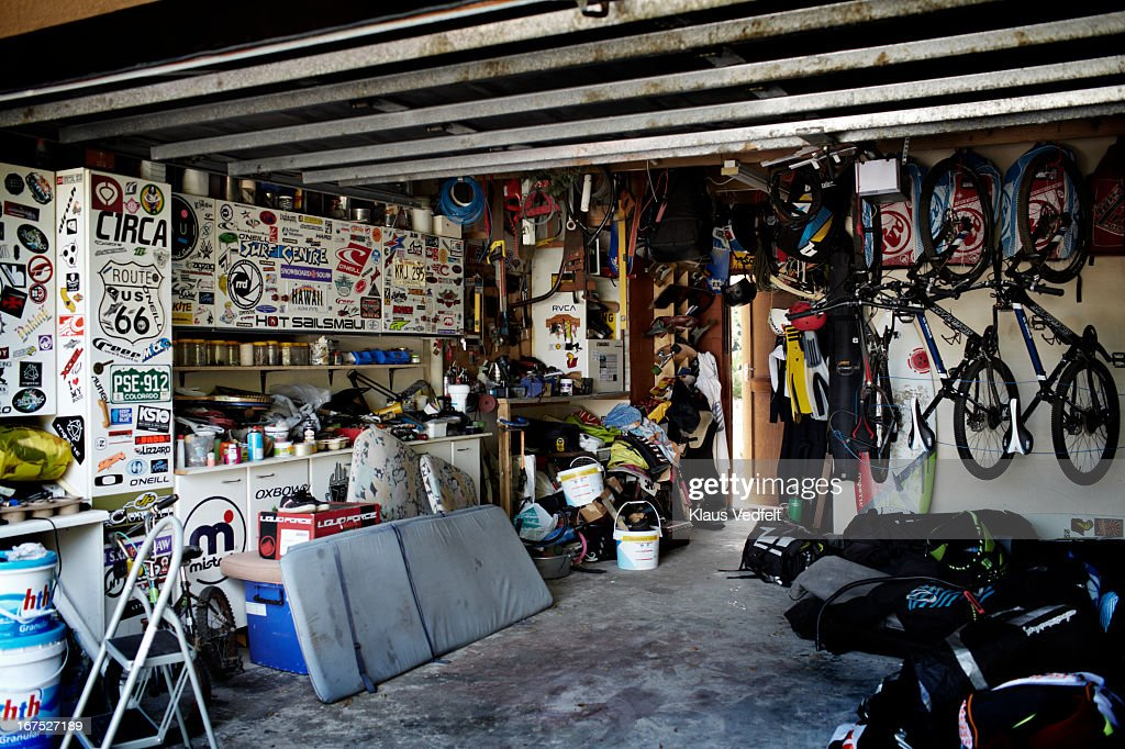 Garage of a surf family