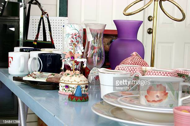 Garage/Yard Sale table with dishware items