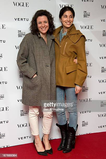 Garance Dore and Caroline Issa attends the opening party for The Vogue Festival in association with Vertu at Southbank Centre on April 27 2013 in...