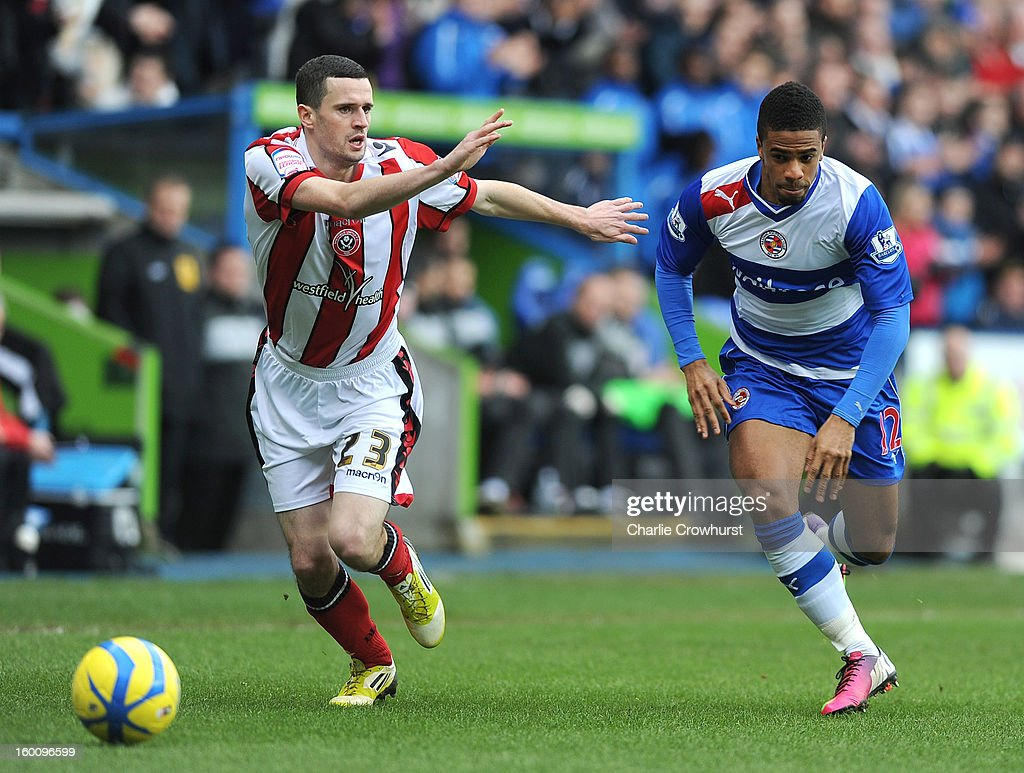 Garath McCleary of Reading attacks during the FA Cup Fourth Round match between Reading and Sheffield United at the Madejski Stadium on January 26, 2013 in London England.