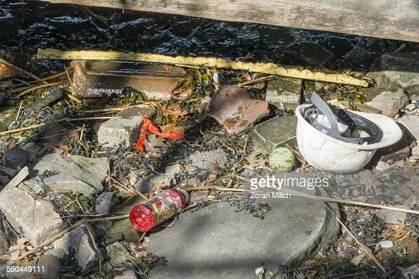 Garbage and rubbish on the surface of New York's East River New York New York USA