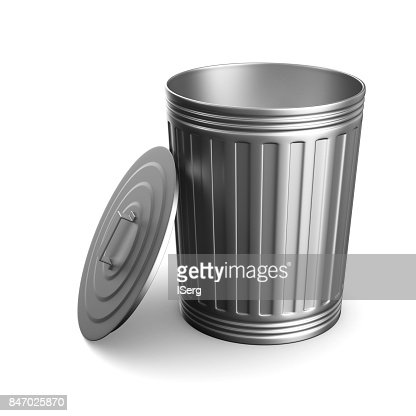 Garbage basket on white background. Isolated 3D illustration : Stock Photo