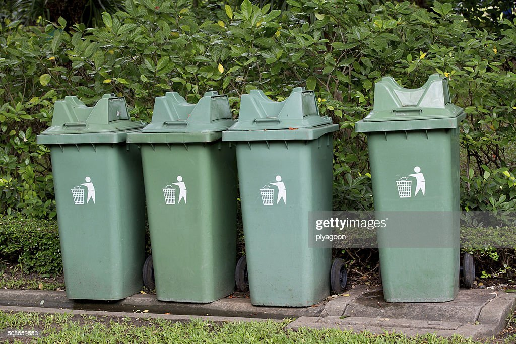 garbage bin  in the park : Stock Photo