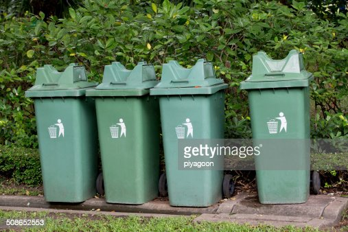 garbage bin  in the park : Stock Photo