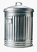 A garbage can on a white background.