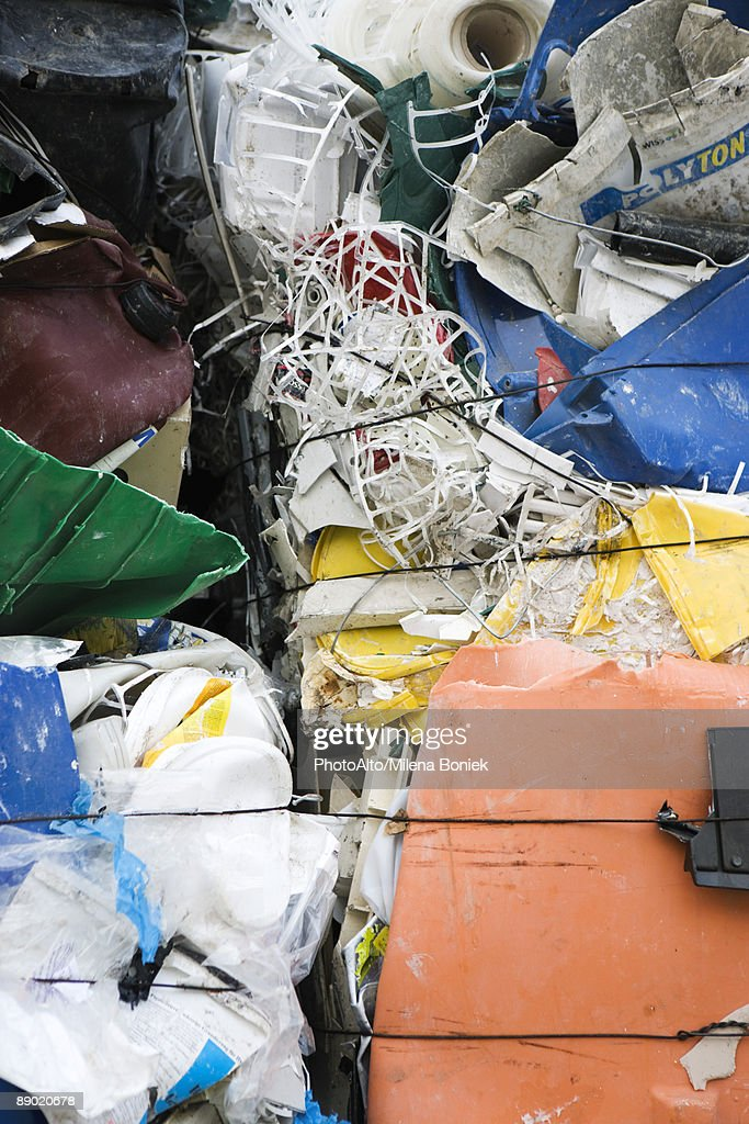 Garbage flattened into bales, full frame : Stock Photo