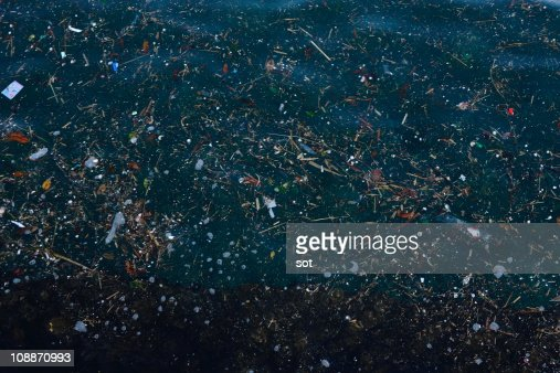 Garbage floating on the surface of sea
