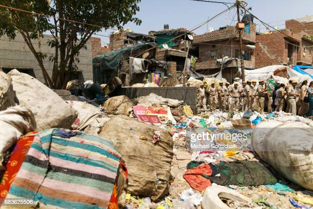 Garbage garbage collectors have sorted on a street in the slum of the urban district Seemapuri where the Caritas and the NGO Chentanalaya support...