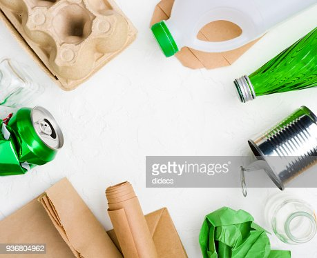 Garbage on abstract white background for recycling or reuse concept : Stock Photo