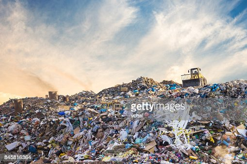 Garbage pile in trash dump or landfill. Pollution concept. : Stock Photo