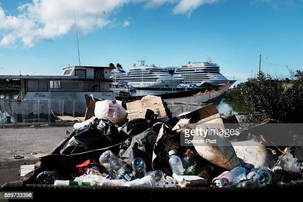 Garbage piles up near cruise ships on December 10 2017 in St John's Antiqua While it's sister island Barbuda was nearly destroyed by Hurricane Irma...