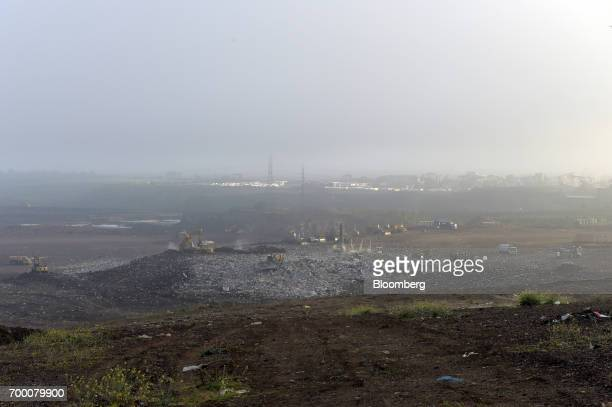 Garbage sits in a landfill cell at the Melbourne Regional Landfill site operated by Cleanaway Waste Management Ltd in Ravenhall Victoria Australia on...