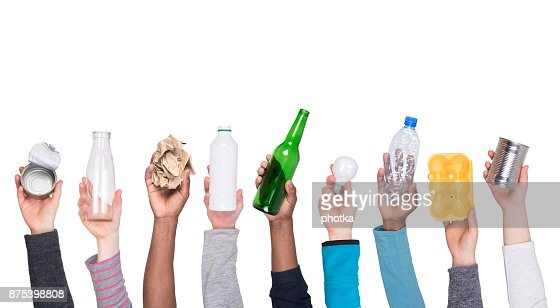 Garbage that can be recycled held in hands : Stock Photo