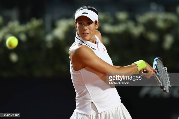 Garbiñe Muguruza of Spain in action during the women's second round match against Jelena Ostapenko of Latvia on Day Four of The Internazionali BNL...