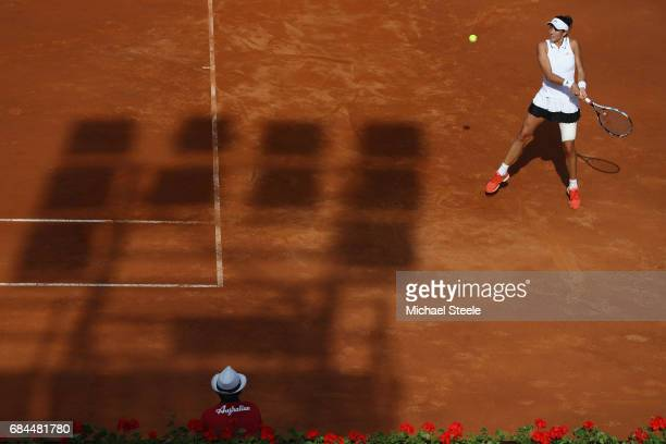 Garbiñe Muguruza of Spain in action during the women's third round match against Julia Goerges of Germany on Day Five of the Internazionali BNL...
