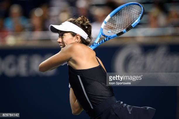 Garbiñe Muguruza of Spain reacts after hitting the winning shot during her third round match of the 2017 Rogers Cup tennis tournament on August 9 at...