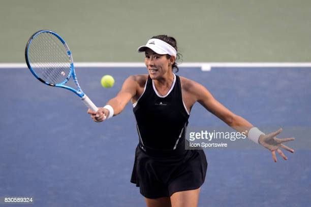 Garbiñe Muguruza of Spain returns the ball during her quarterfinals match of the 2017 Rogers Cup tennis tournament on August 11 2017 at Aviva Centre...