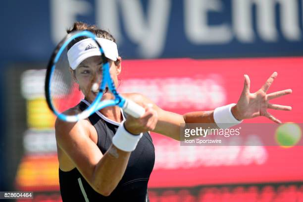 Garbiñe Muguruza of Spain returns the ball during her second round match of the 2017 Rogers Cup tennis tournament on August 9 at Aviva Centre in...