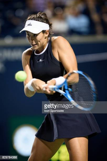 Garbiñe Muguruza of Spain returns the ball during her third round match of the 2017 Rogers Cup tennis tournament on August 9 at Aviva Centre in...