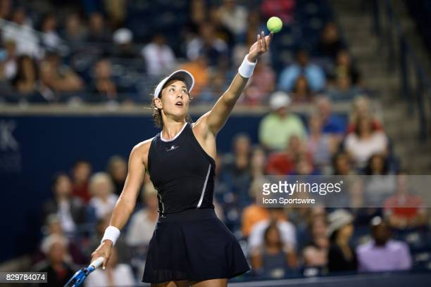 Garbiñe Muguruza of Spain serves the ball during her third round match of the 2017 Rogers Cup tennis tournament on August 9 at Aviva Centre in...