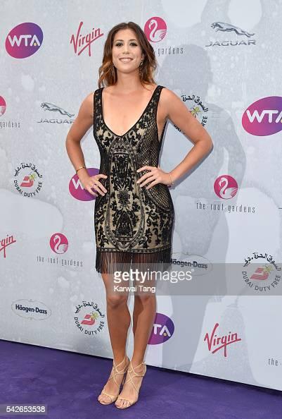 Garbine Muguruza arrives for the WTA PreWimbledon Party at Kensington Roof Gardens on June 23 2016 in London England