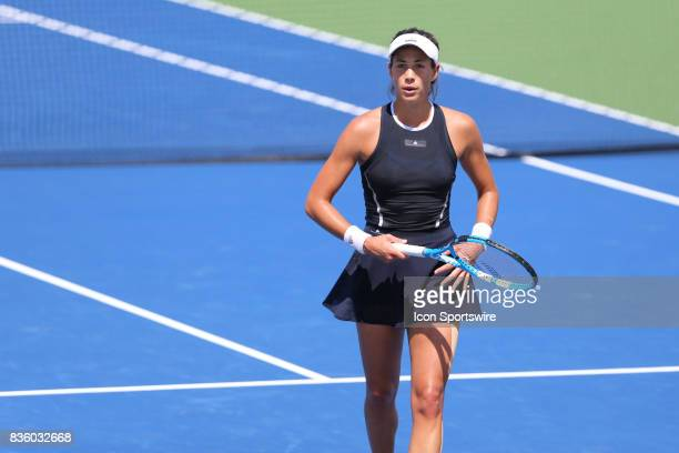 Garbine Muguruza during the championship match against Simona Halep During the Western Southern Open at the Lindner Family Tennis Center in Mason...