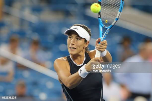 Garbine Muguruza hits a backhand during the Western Southern Open at the Lindner Family Tennis Center in Mason Ohio on August 15 2017