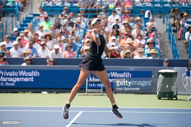 Garbine Muguruza hits a forehand during the championship match against Garbine Muguruza and Simona Halep at the Western Southern Open at the Lindner...
