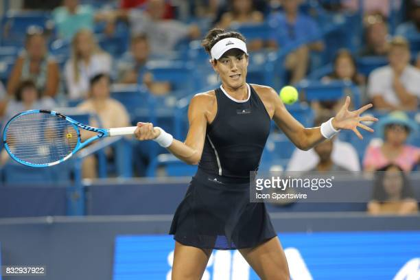 Garbine Muguruza hits a forehand during the Western Southern Open at the Lindner Family Tennis Center in Mason Ohio on August 15 2017
