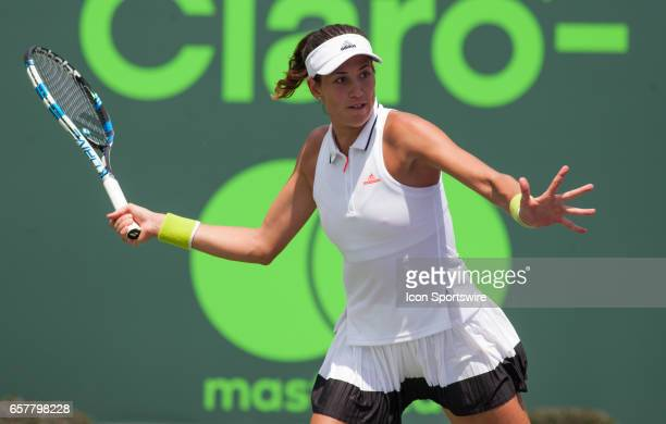 Garbine Muguruza in action during the 2017 Miami Open in Key on March 25 at the Tennis Center at Crandon Park in Biscayne FL