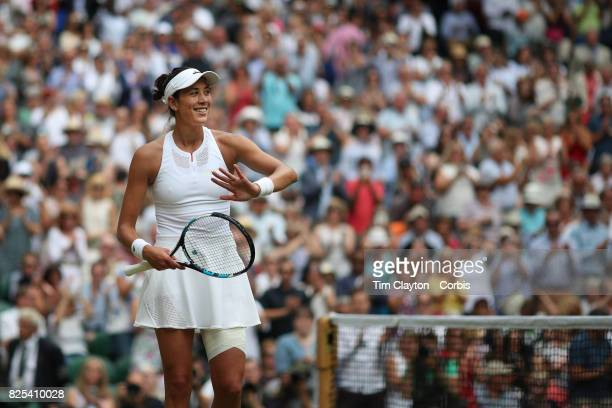 Garbine Muguruza of Spain after her victory against Magdalena Rybarikova of Slovakia in the Ladies Singles Semi Final match during the Wimbledon Lawn...