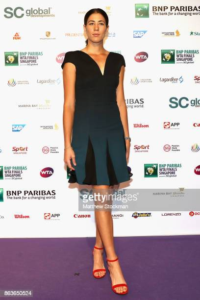 Garbine Muguruza of Spain arrives for the Official Draw Ceremony and Gala of the BNP Paribas WTA Finals Singapore presented by SC Global at Marina...