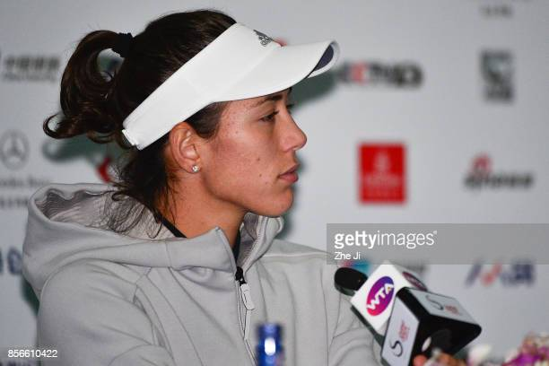 Garbine Muguruza of Spain attends a press conference after her retired due to injury during the day three of 2017 China Open at the China National...