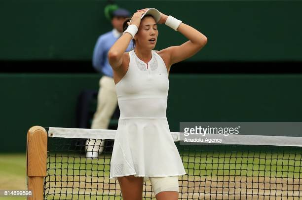 Garbine Muguruza of Spain celebrates after beating Venus Williams of USA in the Women's Final of the 2017 Wimbledon Championships at the All England...